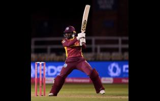 Windies Women captain Stafanie Taylor plays a shot during the second Vitality Twenty20 International match against hosts England Women at the Incora County Ground in Derby yesterday.